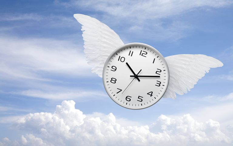 Time flies. Clock with wings