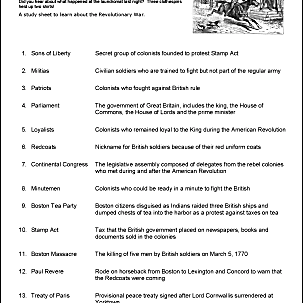 Revolutionary War Printable Wordsearch