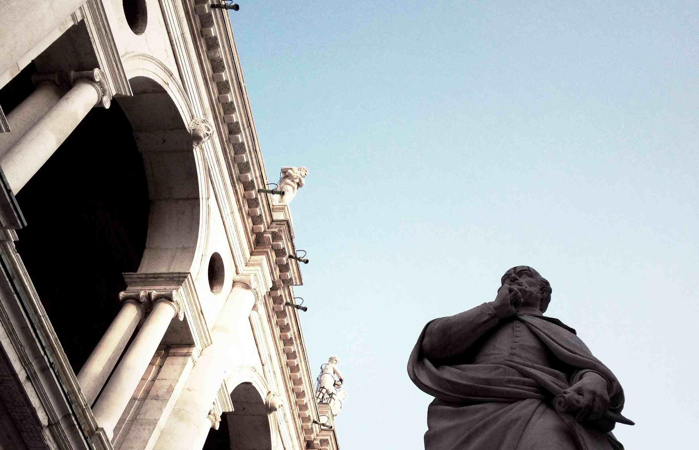 Andrea Palladio's statue near the Basilica Palladiana in Italy
