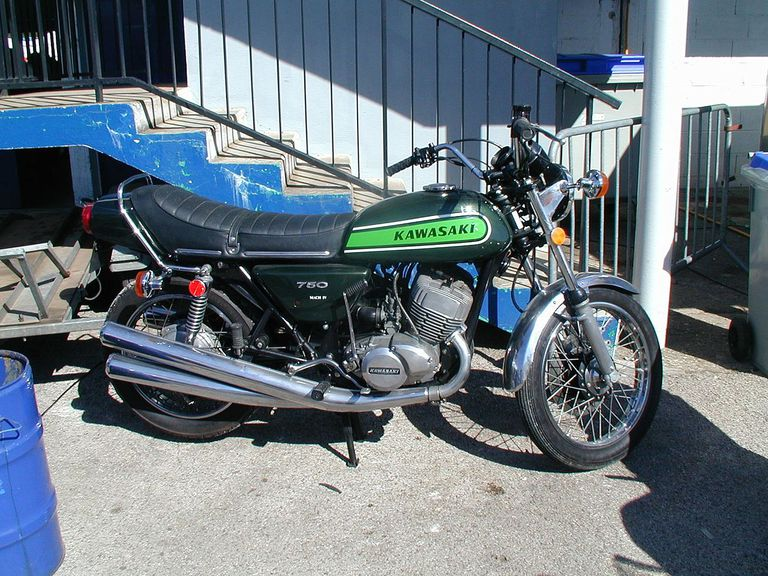 Kawasaki H2 750 parked in front of a set of stairs.