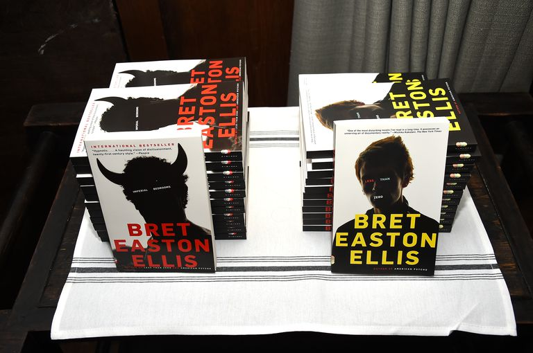 Two stacks of Bret Easton Ellis books.