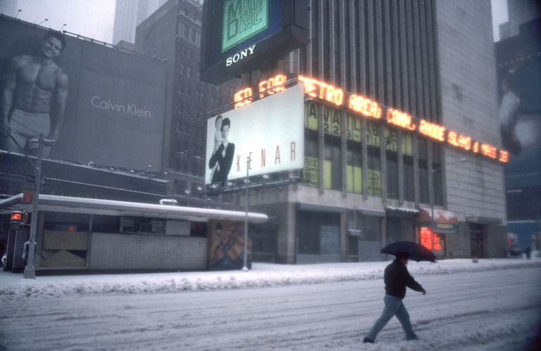 Blizzard in Times Square, New York, New York, March 13, 1993
