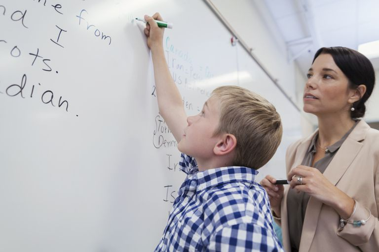 Teacher and student at white board in classroom