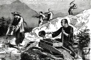 Chinese miners in California, drawn in 1849