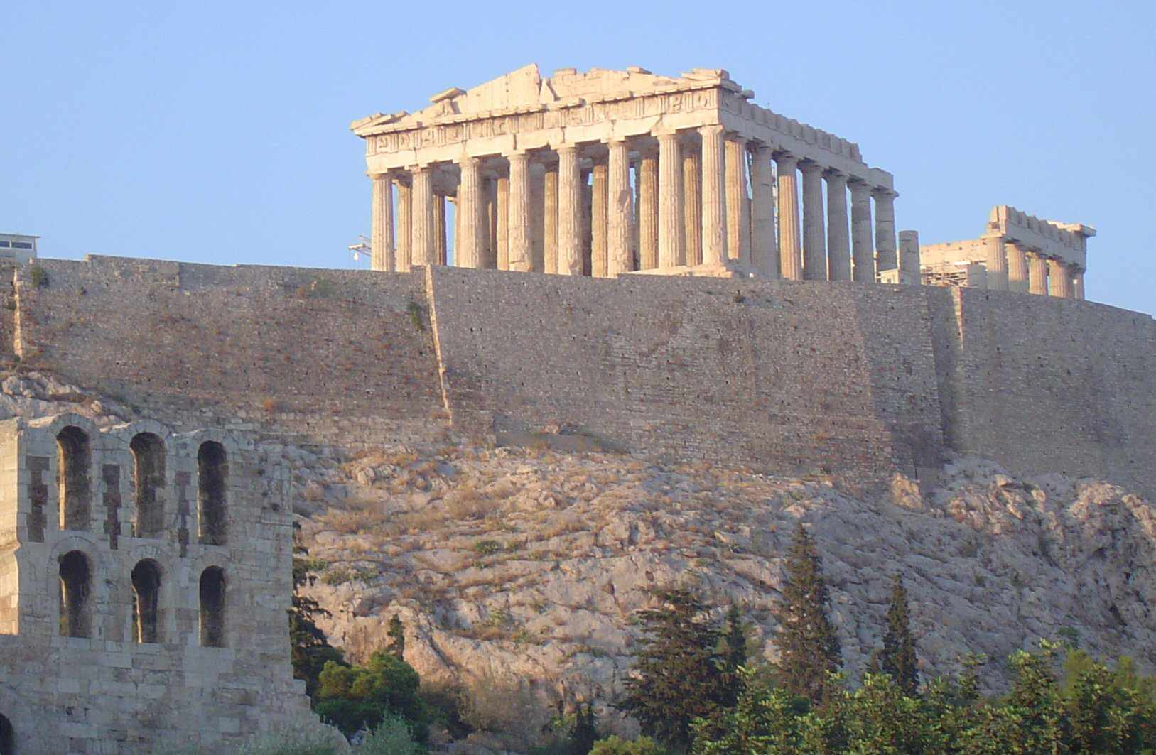 The Parthenon Temple crowns the Acropolis in Athens, Greece