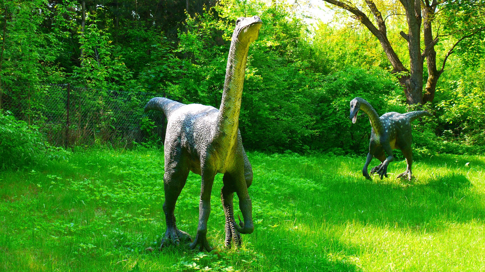 A couple of spotted <i>Ornithomimus</i> dinosaur models located at the Czech Republic's DinoPark in Vyškov