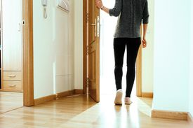 a woman leaving