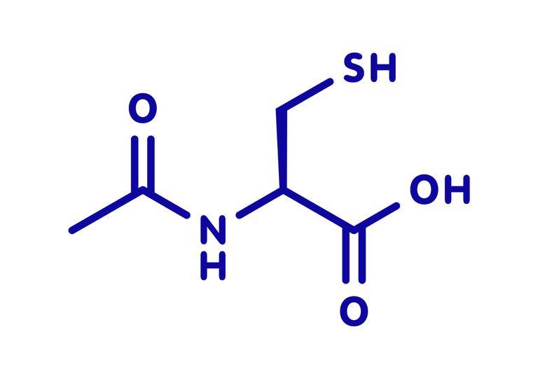 Acetylcysteine mucolytic drug, molecular model