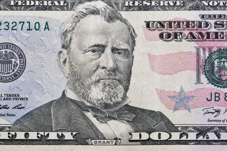 US President Grant portrait on fifty dollars bill macro