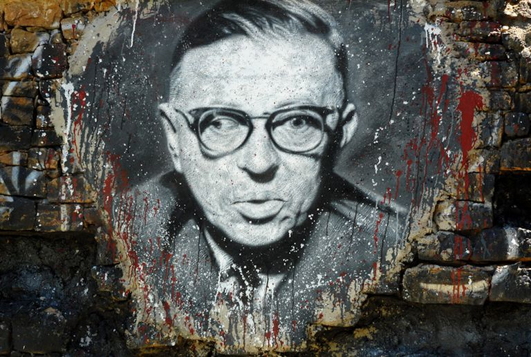 Jean-Paul Sartre, painted portrait