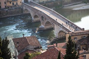 View of Ponte Pietra in Verona, Italy