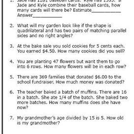 4th-Grade Math Word Problems