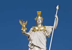 The statue of goddess Athena in front of the Austrian parliament in Vienna.