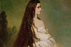 Empress Elisabeth of Austria with flowing hair. Oil on canvas, 1846.