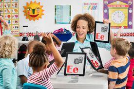 Teacher teaching children the alphabet