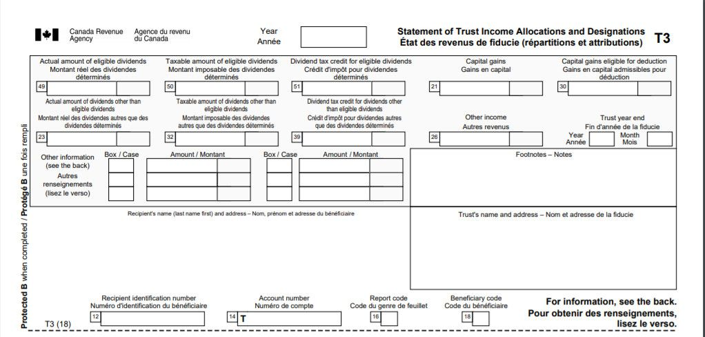 Canadian T3 Tax Slips For Trust And Mutual Funds Income