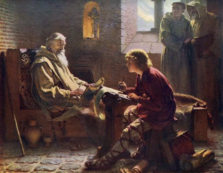 'The Venerable Bede Translating the Last Chapter of St John', 1926.Artist: James Doyle Penrose