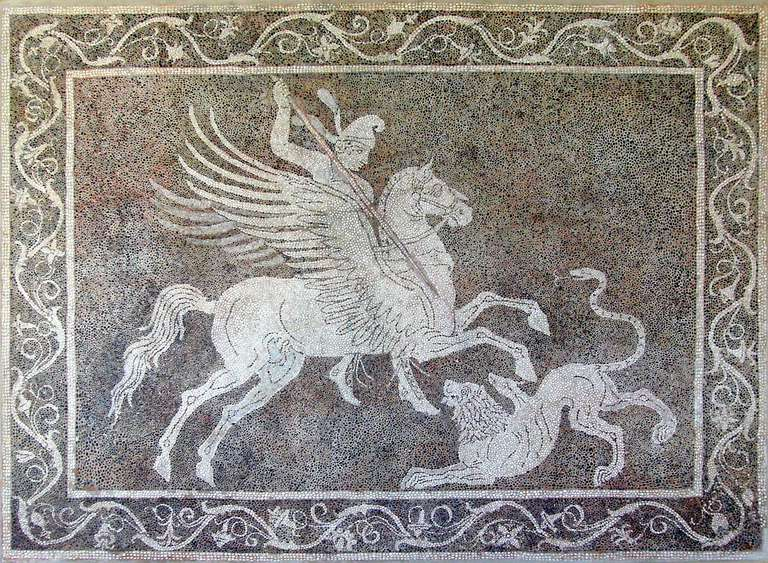 Pebble mosaic depicting Bellerophon killing Chimaera