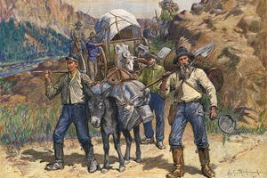 Fortune seekers traveling to the California goldfields to find new diggings during the California Gold Rush era, 1849