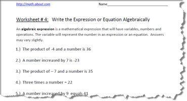 Algebraic Expression Worksheet 4 of 5