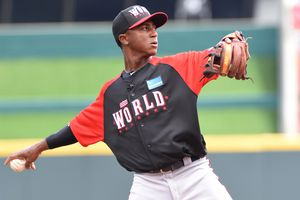 Seen here in the 2015 Futures Games, Ozhaino Albies is one of the Top 10 to make Baseball America's Top Braves Prospects list.