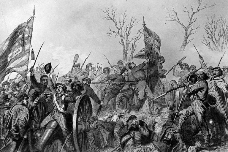 Engraving depicting fighting during the American Civil War