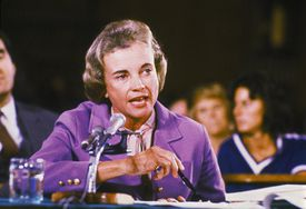 American lawyer Sandra Day O'Connor testifying at a judicial hearing, September 1981