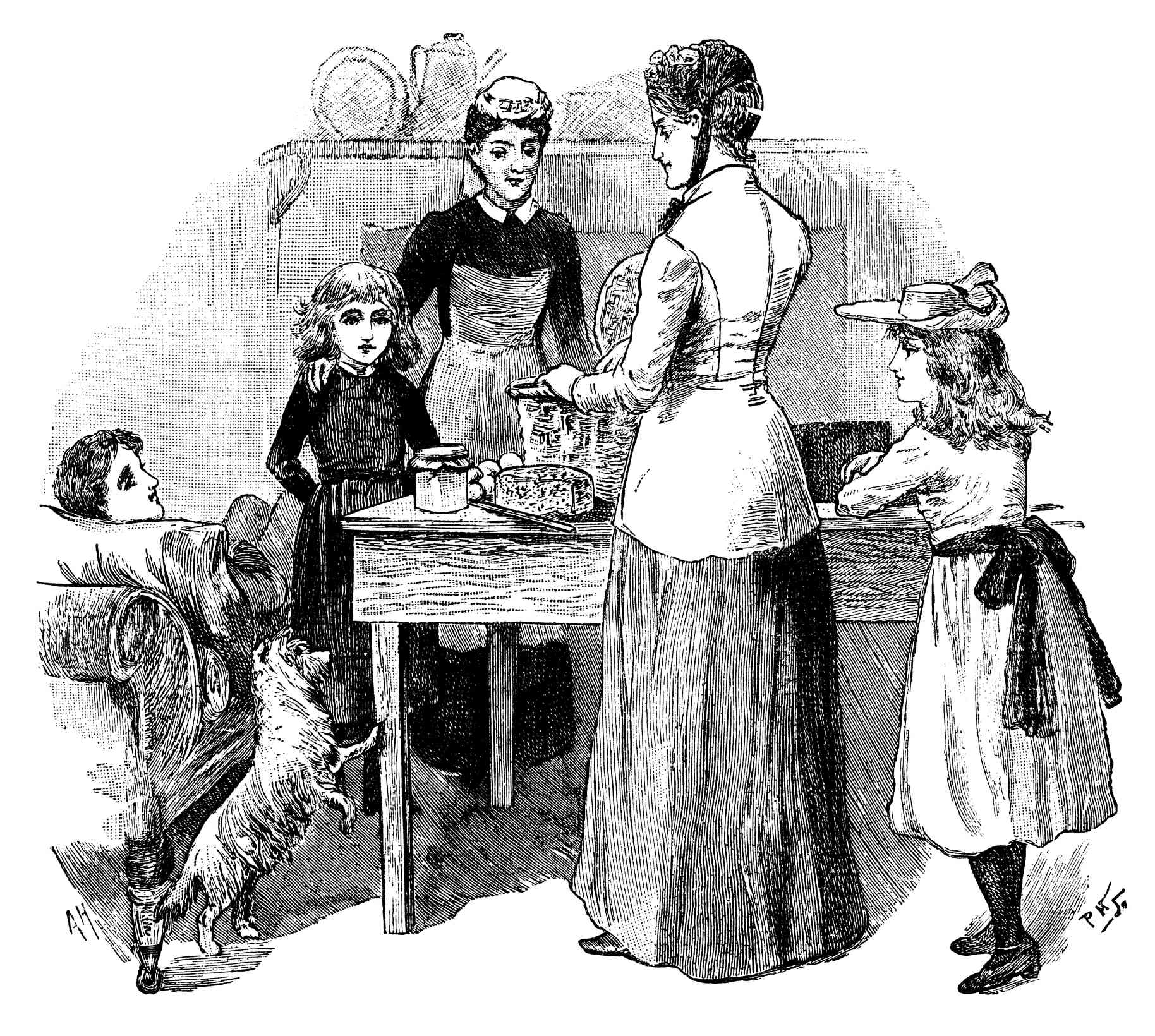 Victorian woman unpacking her basket in the kitchen