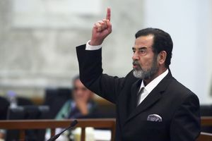 Saddam Hussein during his trial