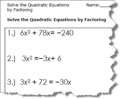 Quadratic Equation Worksheets Printable Pdf Download