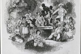 Enslaved Black people being auctioned off with a crowd of White people staring and pointing at them