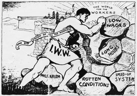 Cartoon depicting I.W.W. goals as a labor union