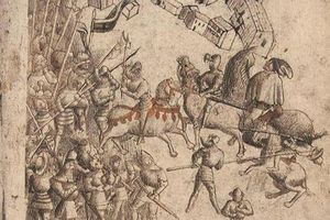 Armored soldiers fight at the Battle of Bannockburn.