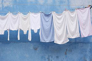 laundry hangs in front of a pale blue wall