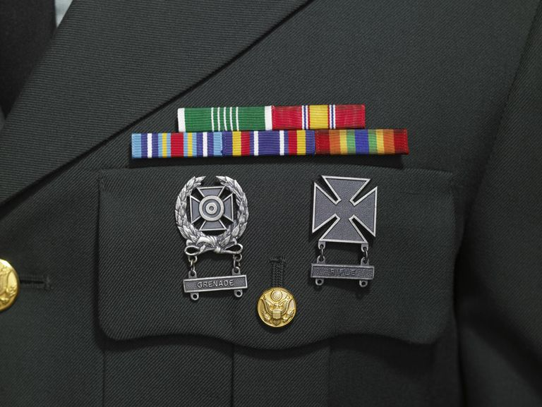 Army uniform with medals and badges