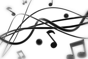 3D rendered musical note background