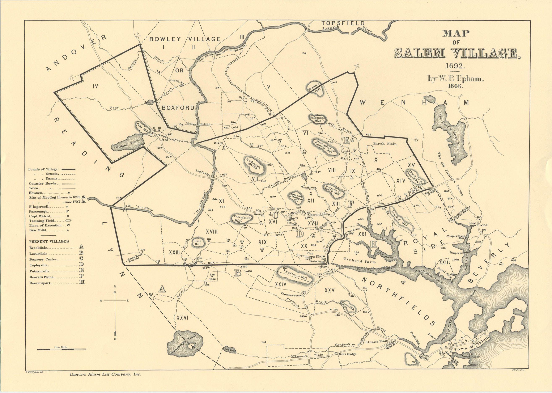 Salem Village Map from Upham