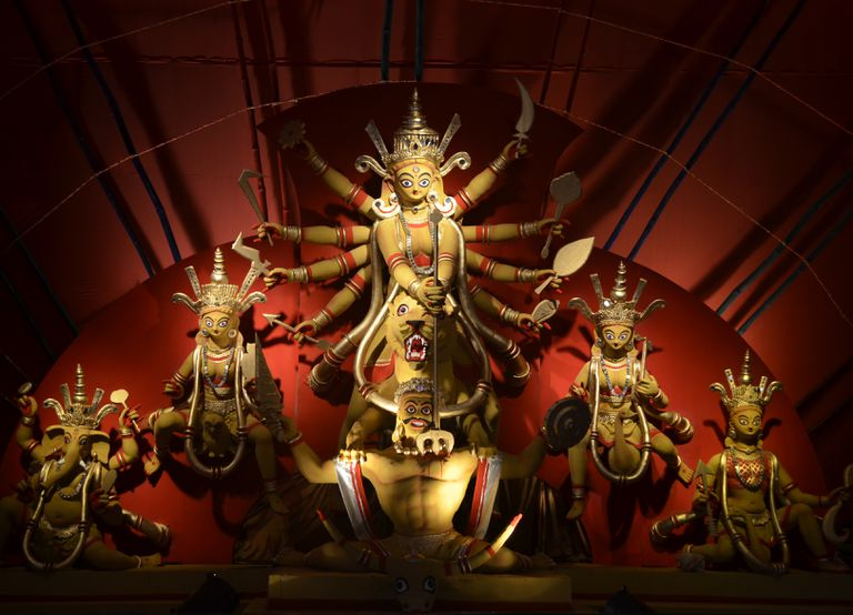 A statue of the Goddess Durga