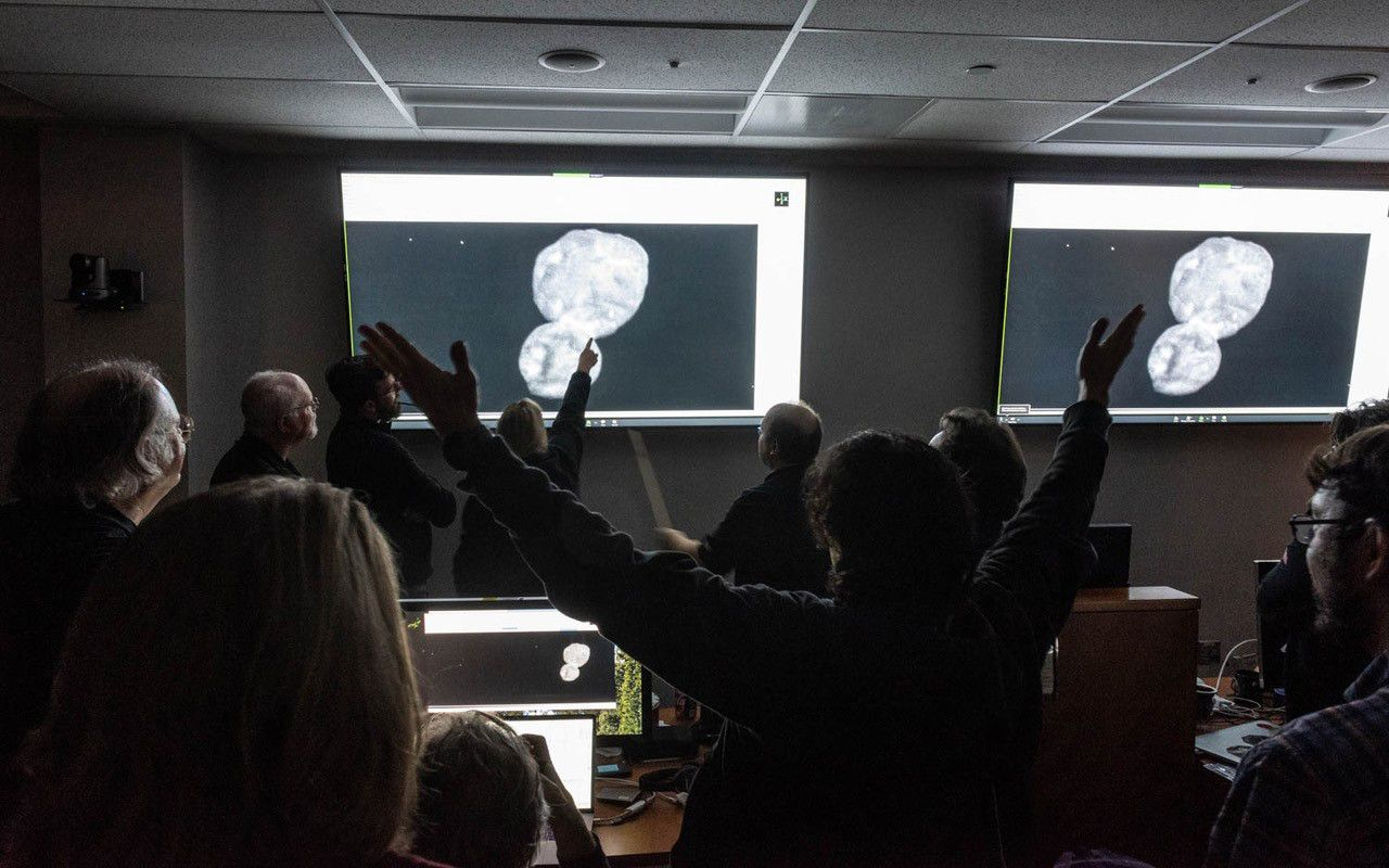 The scene in mission control at Johns Hopkins Applied physics lab when the first clear image of Ultima Thule arrived on January 1, 2019.
