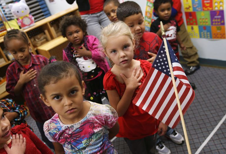 Children reciting the Pledge of Allegiance