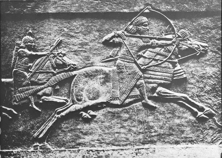 An Assyrian king, likely Ashurbanapal, hunting in Mesopotamia