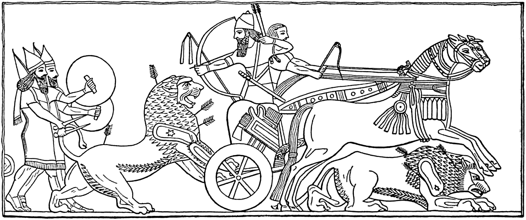 Assyrian King Hunting Lions