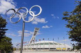 View of Montreal's Olympic Park, featuring the Olympic rings and the stadium