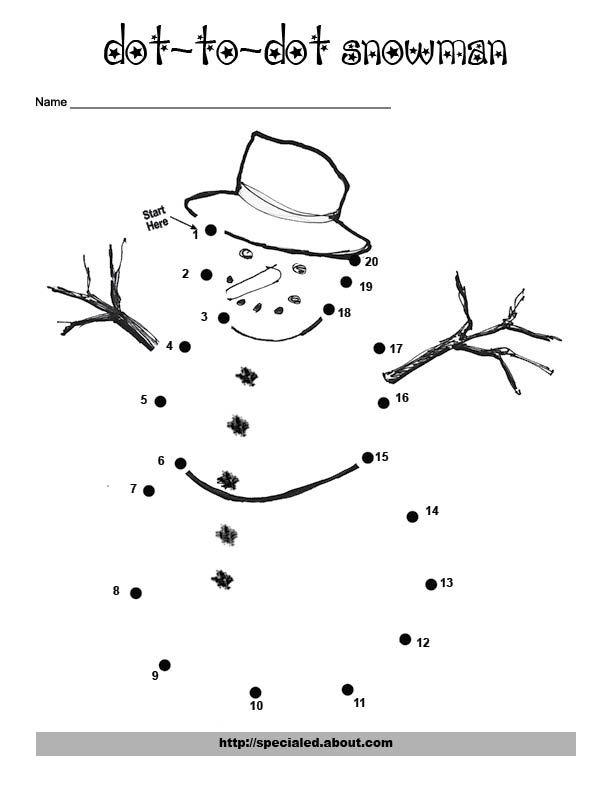 snowman dot to dot worksheet