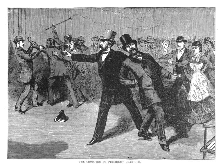 scene depicting Garfield shot in the back