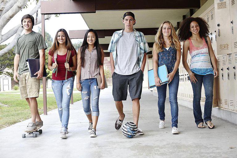 School Friends Walking to Class