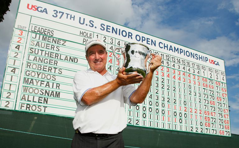 Gene Sauers poses with the Francis D Ouimet trophy after winning the 2016 US Senior Open