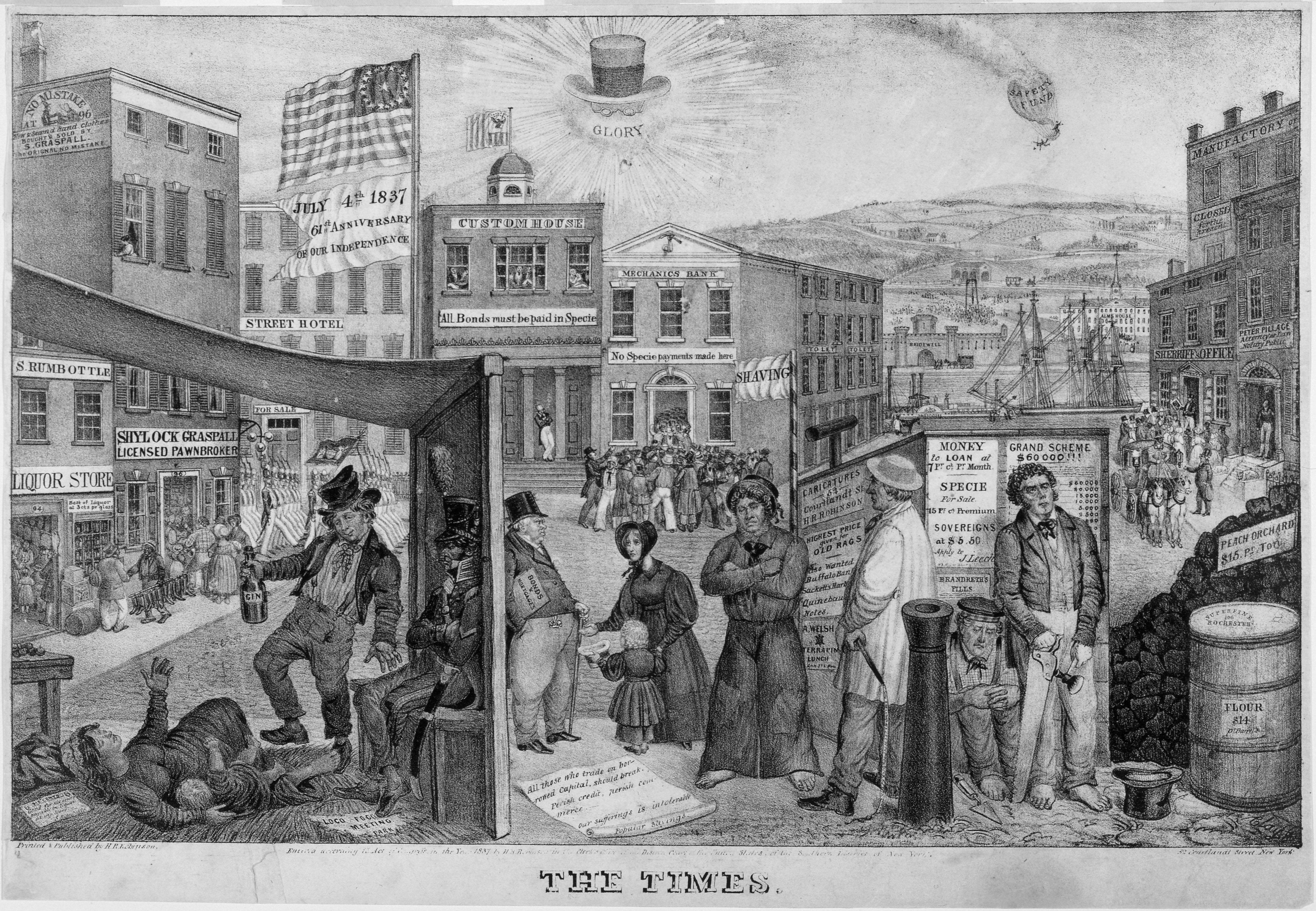 Pen drawing of the Panic of 1837 showing men, women, and children in an American city.