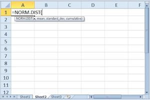 The NORM.DIST function in Excel