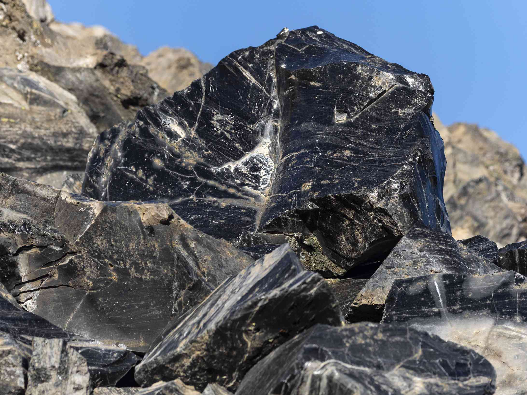 Large obsidian rock formations.